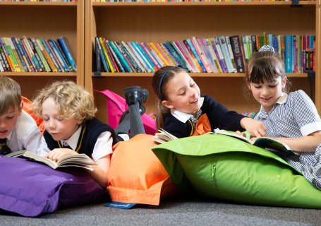 Prep School Library Children Reading