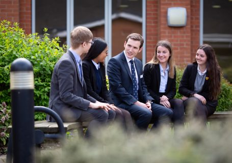 outside sixth form building with assistant head master