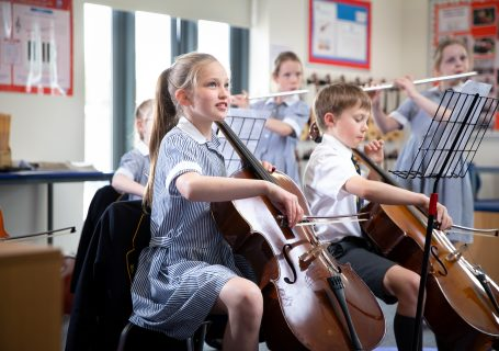 prep school children playing in dedicated music facilities